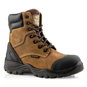 Buckler premium grade safety lace-up boot in dark brown leather, with an anti-scuff toe cap