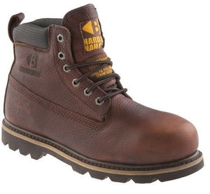 Buckler lace up safety boot in dark brown weathergrain leather