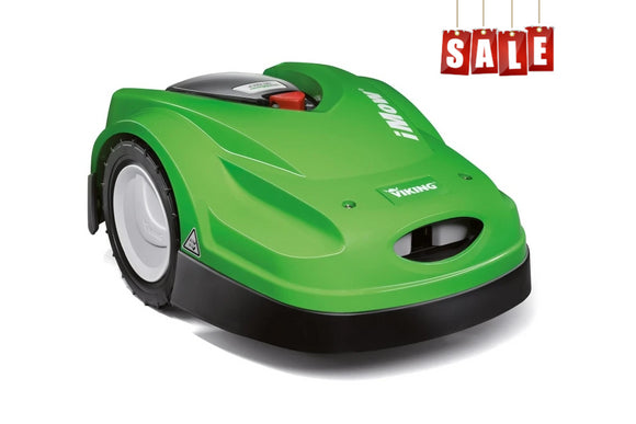 Green Viking Imow 422P Robotic Mower product image on white background