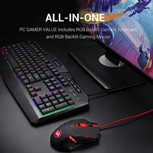 Redragon S101 Wired Gaming Keyboard and Mouse Combo RGB Backlit Gaming Keyboard with Multimedia Keys Wrist Rest and Red Backlit Gaming Mouse 3200 DPI for Windows PC Gamers (Black) - Modern Game Fare