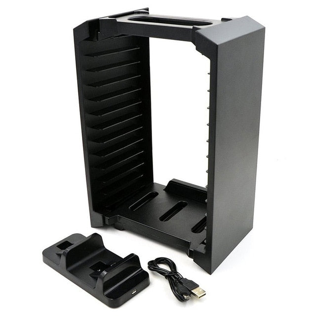 EastVita Game Disk Tower Vertical Stand Handle charger For PS4 Dual Controller Charging Dock Station For PlayStation 4 PRO Slim