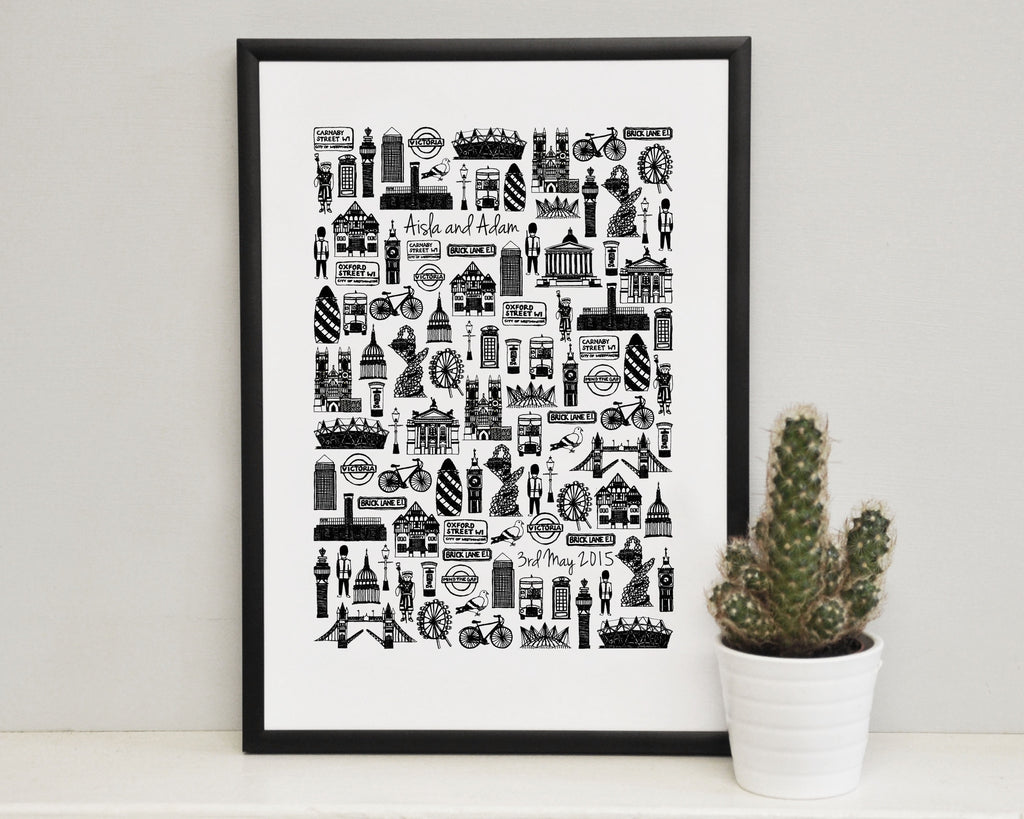 Personalised London wedding print (A4)