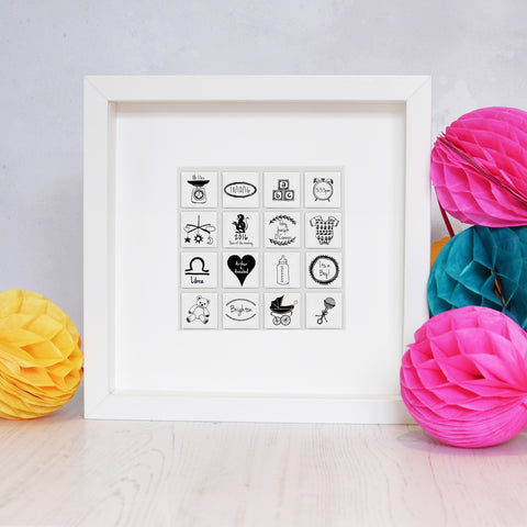 Personalised New Baby Tile Frame