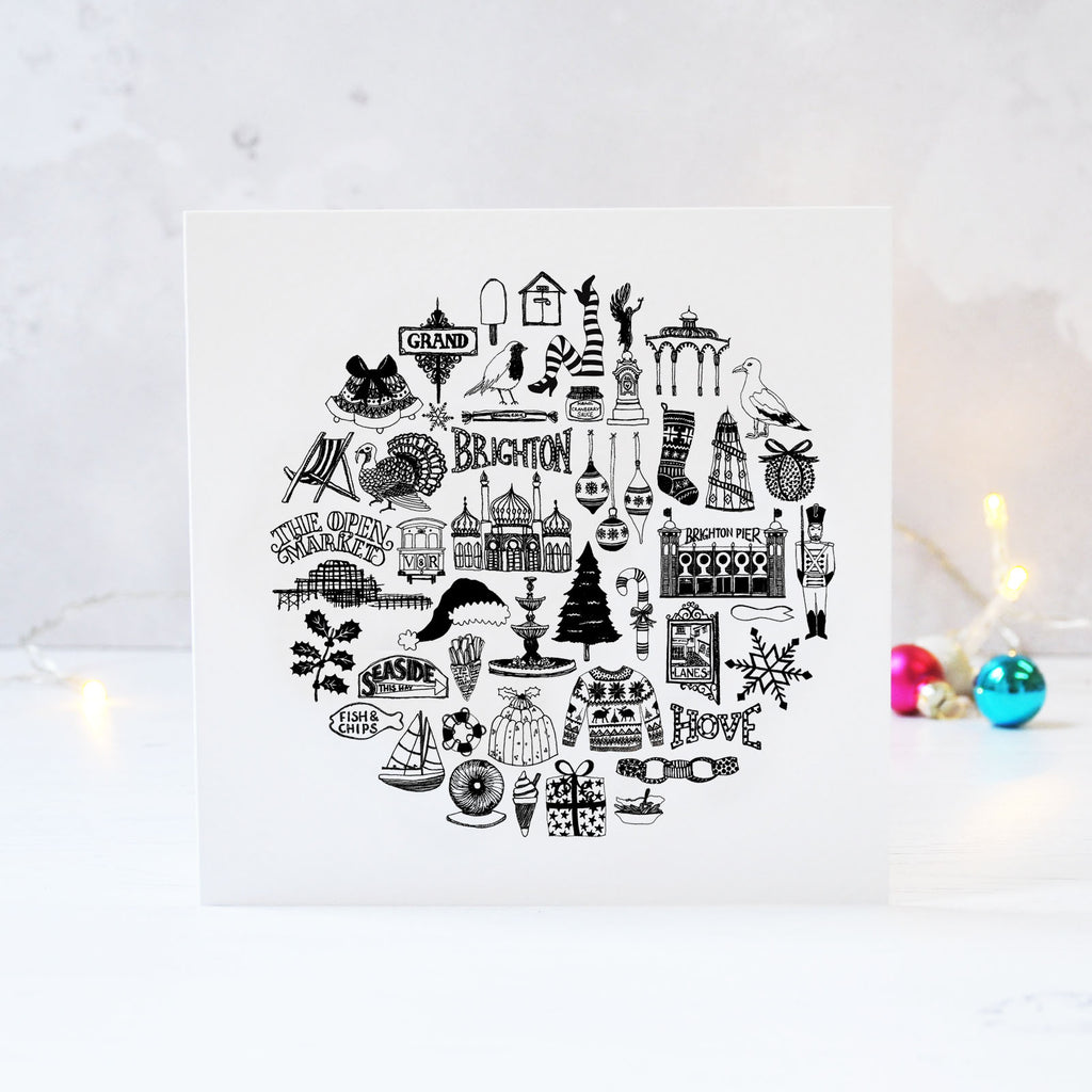 Brighton black and white illustrated Christmas card