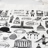 British Illustrated Black And White Cotton Apron