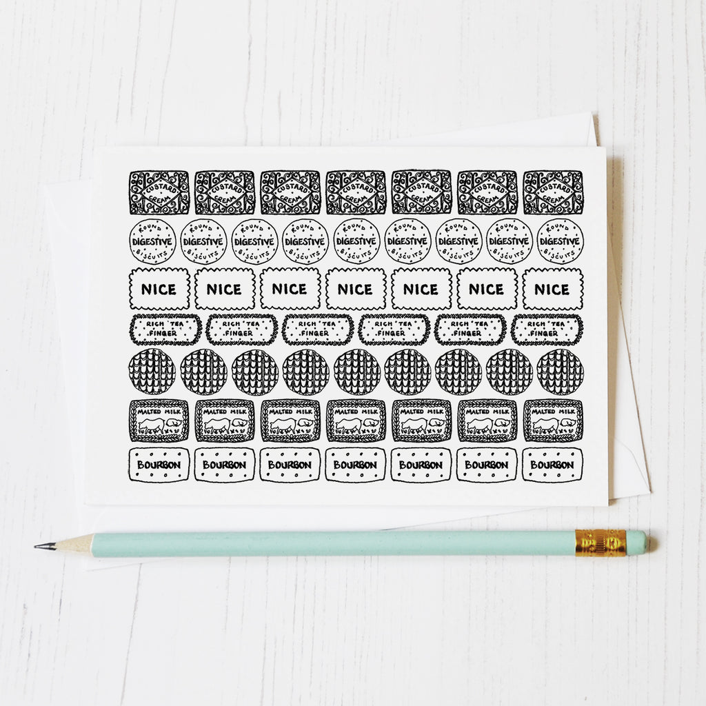Biscuit row black and white illustrated blank greeting card