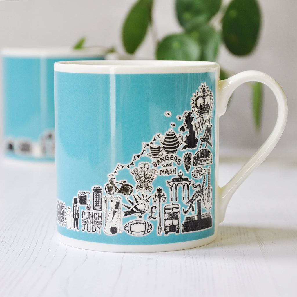 British Blue Illustrated Mug