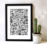 Brighton Illustrated Black And White Print