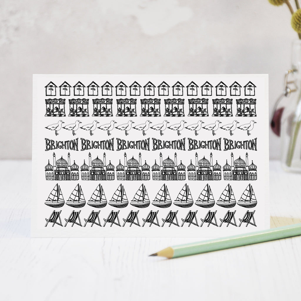 Brighton black and white illustrated beach hut blank greeting card