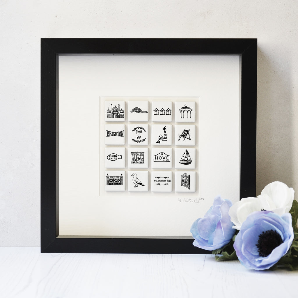 Personalised Brighton And Hove Art In Box Frame