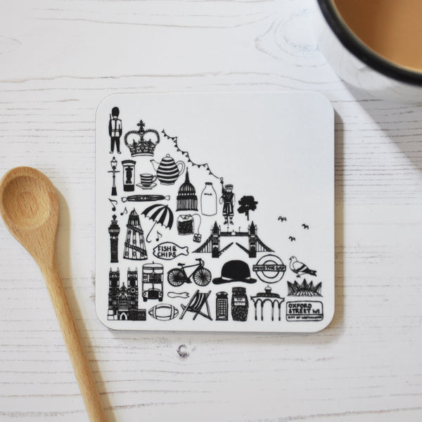 British black and white illustrated coaster