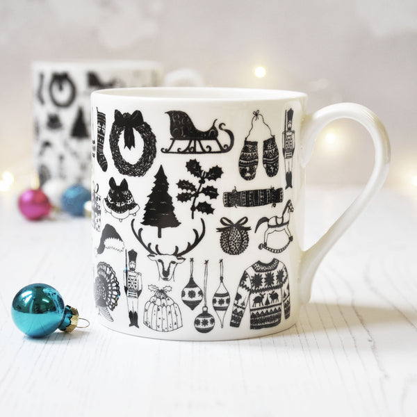 Christmas Illustrated Black And White Mug