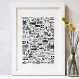 Cornwall illustrated black and white print