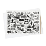 Cornwall illustrated black and white blank greeting blank card