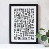 Kitchen food cupboard illustrated black and white print