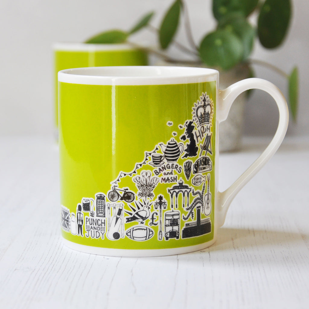 British green illustrated mug
