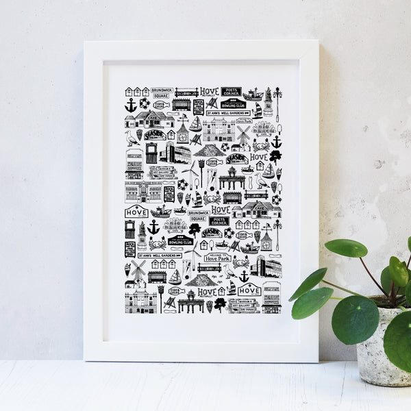 Hove Illustrated Black And White Print