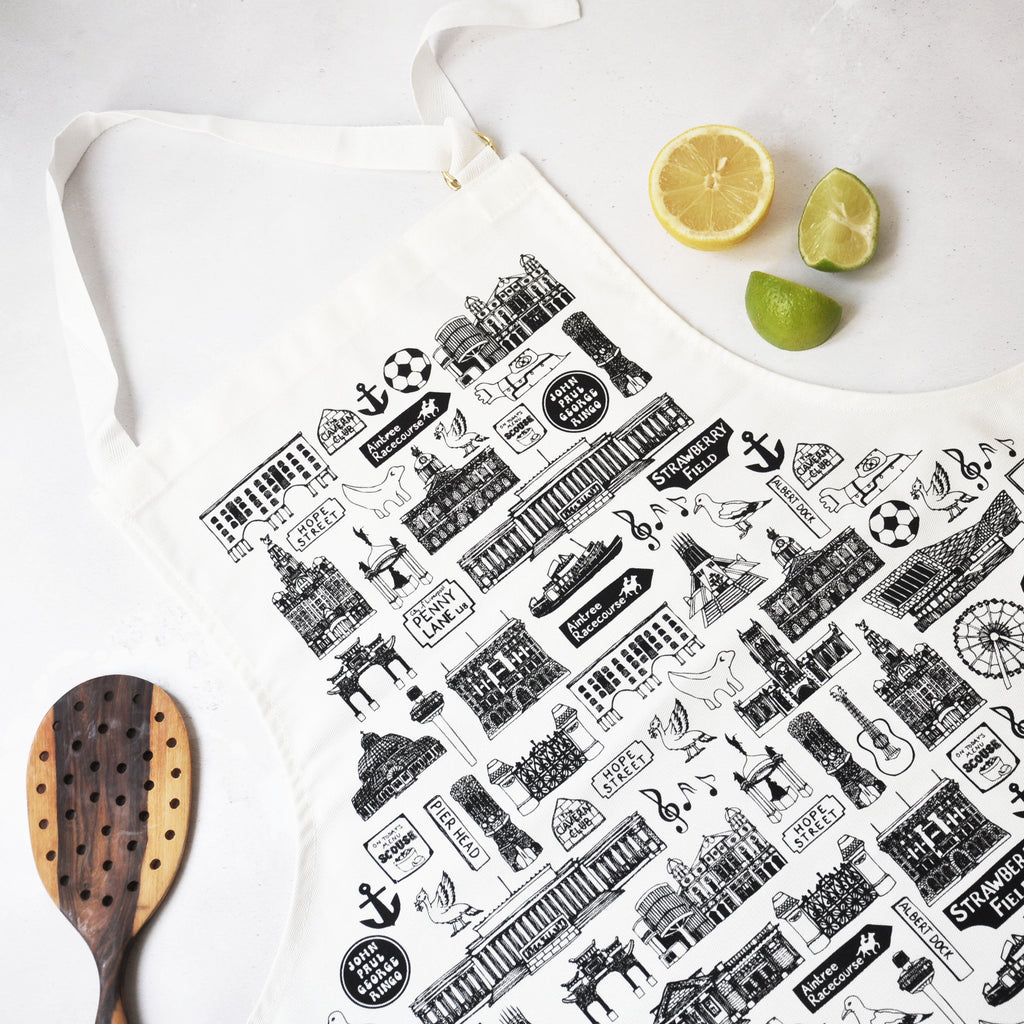 Liverpool Illustrated Black And White Apron