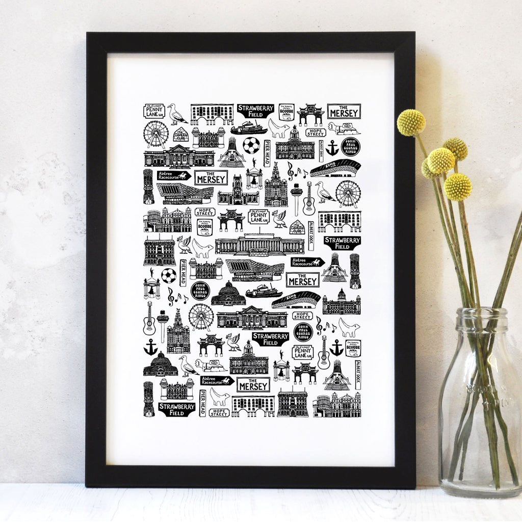 Liverpool illustrated black and white print