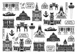 Liverpool illustrated black and white blank greeting blank card