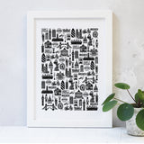 London Illustrated Black And White Print