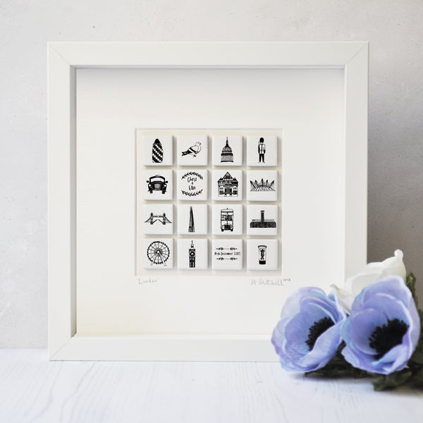 Personalised London Art In Box Frame - Large