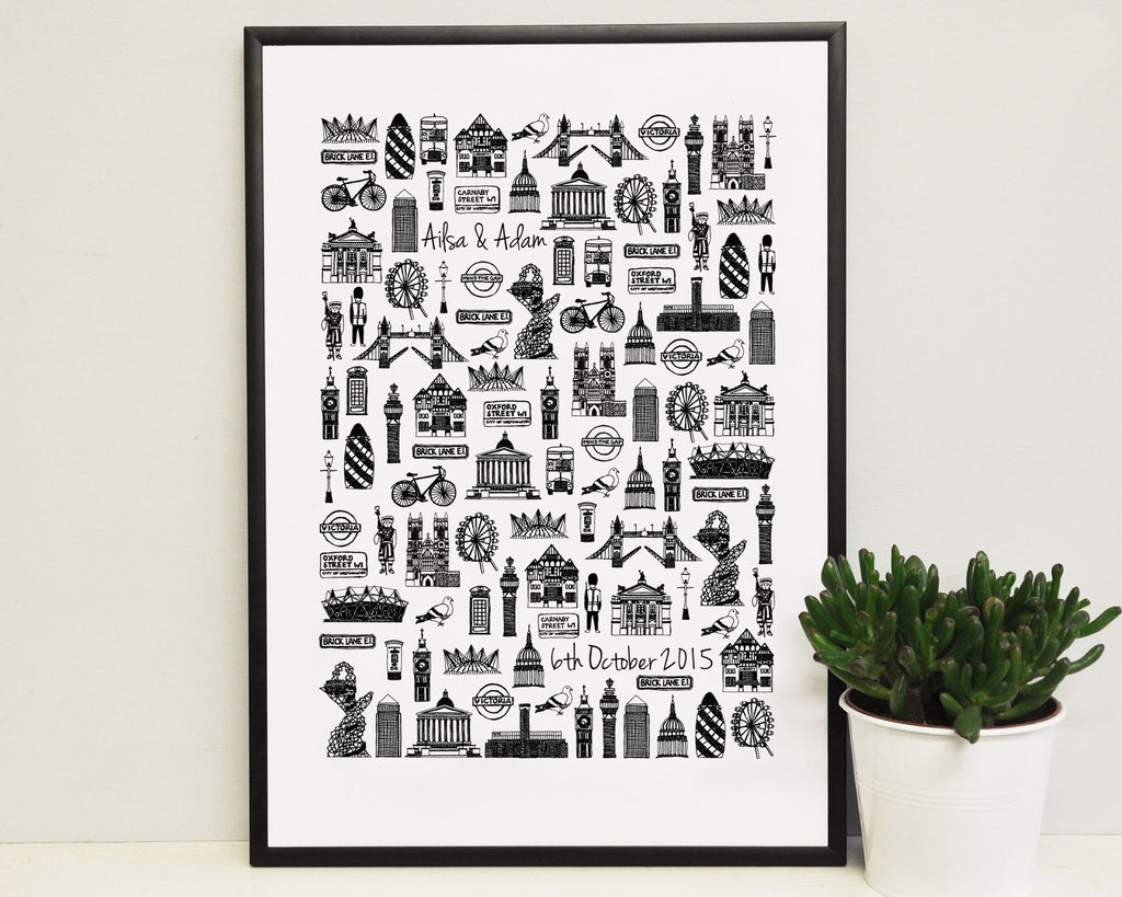 Personalised London wedding print