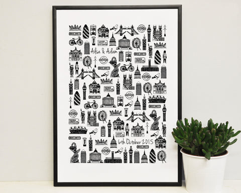 Personalised London wedding print (A3)