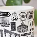 Manchester Illustrated Black And White Mug