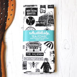 Manchester Illustrated Black And White Tea Towel