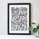 New York illustrated black and white print