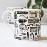 Newcastle Illustrated Black And White Mug