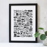 Newcastle Illustrated Black And White Print