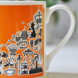 British orange illustrated mug
