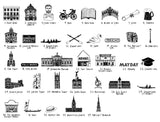Oxford illustrated wall art - small