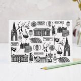 Scotland illustrated black and white blank greeting blank card