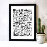Wales Illustrated Black And White Print