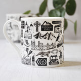 Wales illustrated black and white mug