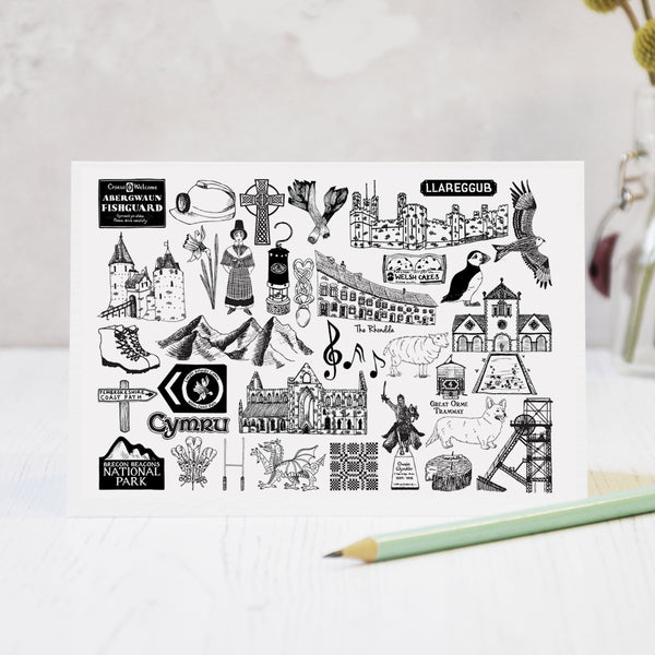 Wales black and white illustrated blank greeting card