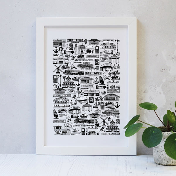 Worthing Illustrated Black And White Print