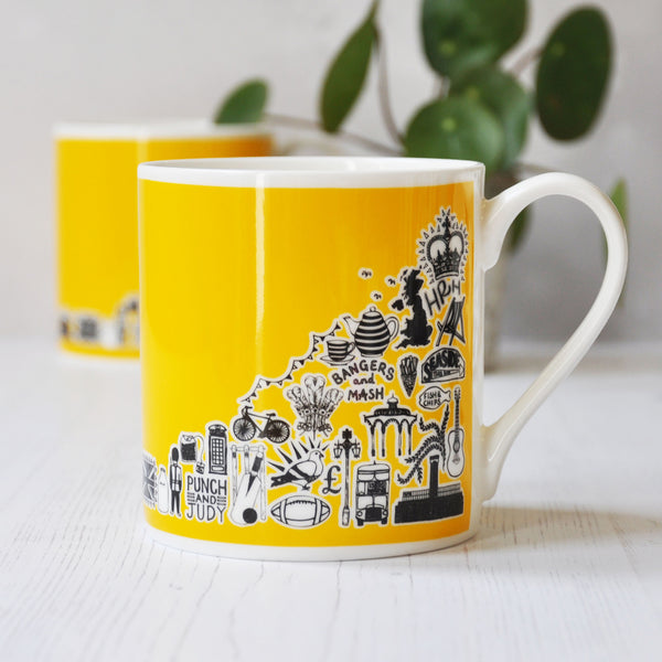 British yellow illustrated mug