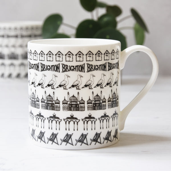 Brighton beach huts illustrated black and white mug