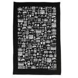 Brighton black illustrated tea towel