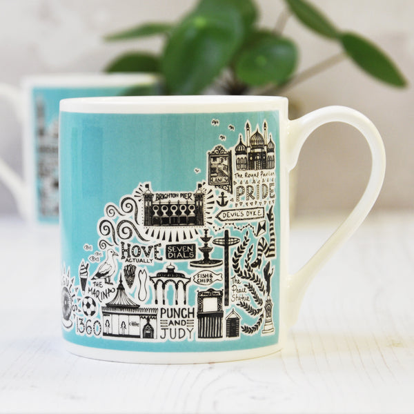 Brighton Blue Illustrated Mug