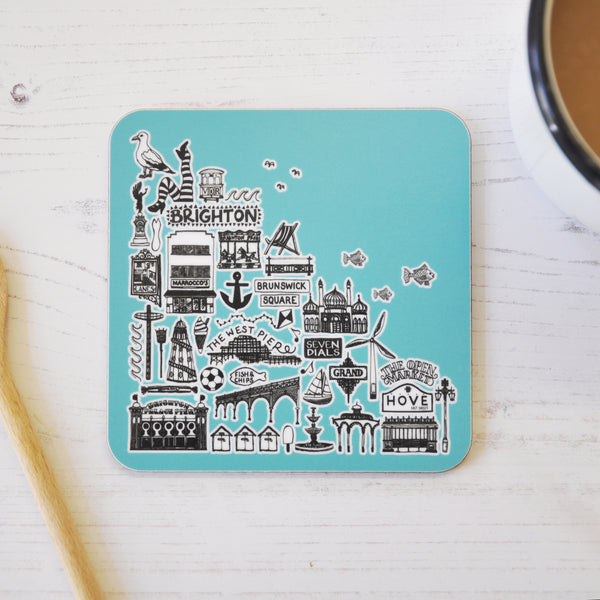 Brighton blue illustrated coaster