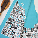 Brighton colourful tea towels (set of four)