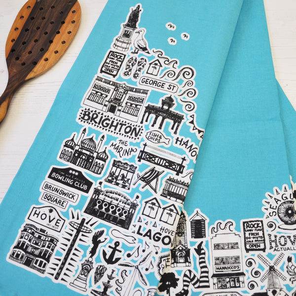 Brighton blue illustrated tea towel