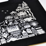 Brighton Black Illustrated Cotton Tote Bag