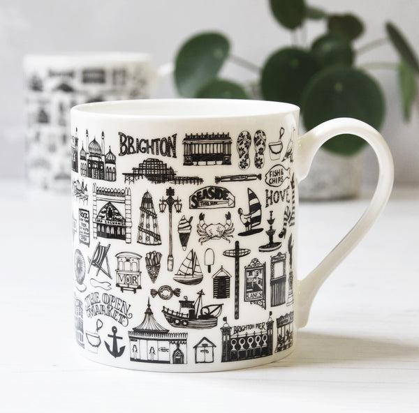 Brighton illustrated black and white mug