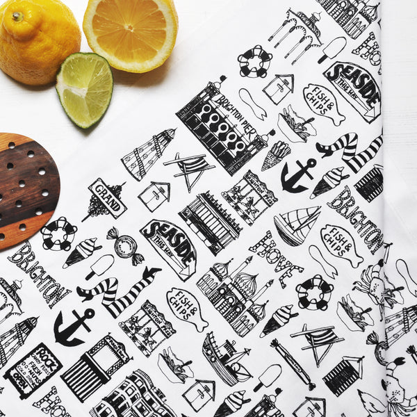Brighton Illustrated Black And White Tea Towel